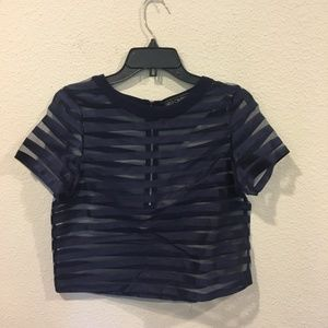 Girls On Film navy striped sheer crop top